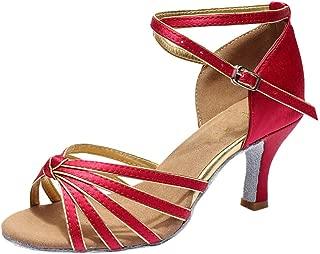 Latin Dance Shoes Women Black Purple Bandage Satin High 3/'/' Ballroom Dance Shoes
