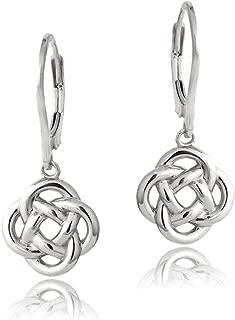 Sterling Silver Love Knot Flower Dangle Leverback Earrings