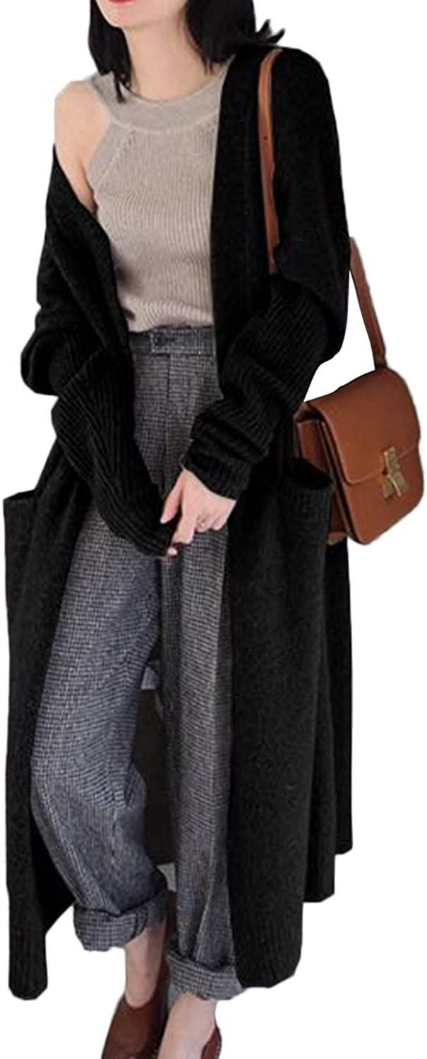 Lentta Womens Open Front Lightweight Wool Maxi Long Cardigan Sweater with Pocket