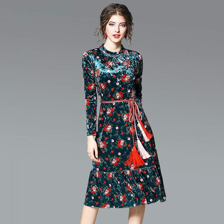 Cxlyq Dresses Fishtail Skirt Print Dress Female