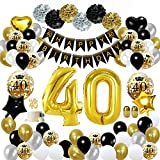 MMTX 40 Geburtstag Dekoration Schwarzes Gold, Geburtstag Party Deko mit Happy Birthday Banner Konfetti Luftballons Herz Folienballons für Mädchen JungenParty Mehrweg