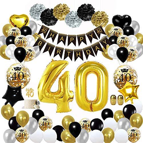 MMTX 40 Geburtstag Dekoration Schwarzes Gold, Geburtstag Party Deko mit Happy Birthday Banner Konfetti Luftballons Herz Folienballons für Mädchen JungenParty