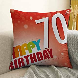 FreeKite Printed Custom Pillowcase Decorative Sofa Hug Pillowcase Vivid Colored Abstract Backdrop with Happy Birthday Slogan Image Print W24 x L24 Inch Red and Orange