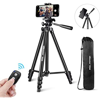 "UBeesize Phone Tripod, 51"" Adjustable Travel Video Tripod Stand with Cell Phone Mount Holder & Smartphone Bluetooth Remote, Compatible with iPhone/Android (Black)"