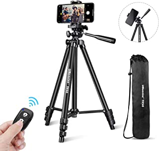 """UBeesize Phone Tripod, 50"""" Adjustable Travel Video Tripod Stand with Cell Phone Mount Holder & Smartphone Bluetooth Remote, Compatible with iPhone/Android"""
