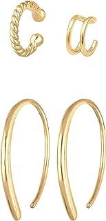 Elli Orecchini Creolo Earcuff Set di base Blogger Trend in argento sterling 925 placcato oro