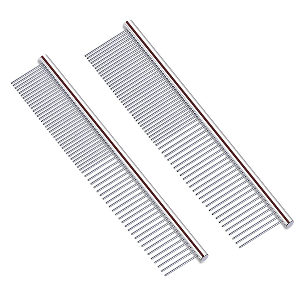 2PCS Pet Steel Combs Dog Cat with Stainless New product! New type Regular store Rounded