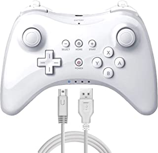 WiiU コントローラー 白い ワイヤレス 振動機能 複数同時接続可能【WiiU Pro コントローラー】& 1年保証付き (White)
