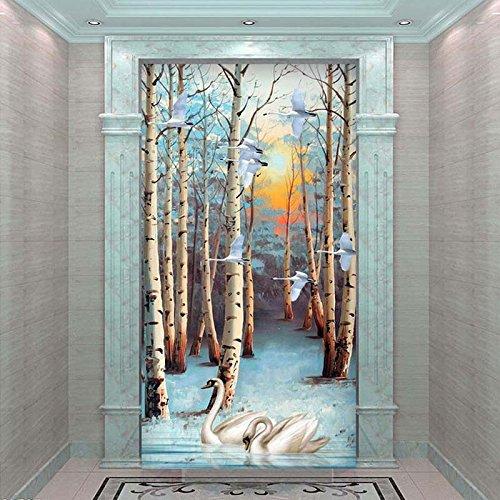 3D Wandbild Hintergrund bild Wallpaper White Birch Forest Tree Swan Ölgemälde Lobby Inneneingang Korridor Wanddekor Tapete muraart 300cmx210cm