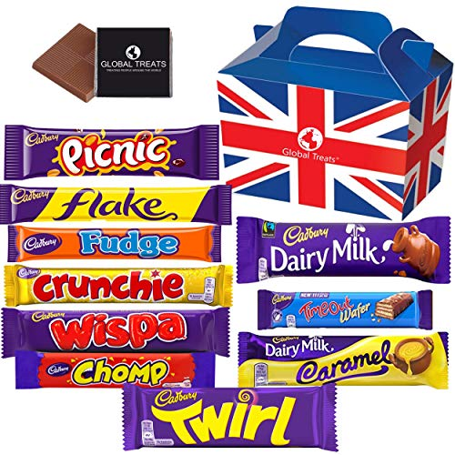 chocolate bars Cadbury Chocolate Bars - Gift Pack with 10 FULL SIZE Chocolate bars of delicious Cadbury Chocolate from the UK with unique Gift Box and a free British Chocolate.