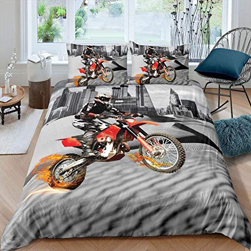 zzkds Funda de edredón Dirt Bike para niños Niños Jóvenes Adolescentes Motocross Extreme Sports Bedding Set Modern Cityscape Fundanórdica deMoto