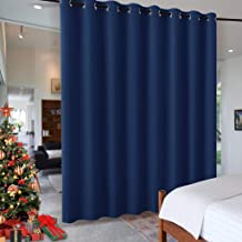 RYB HOME Bedroom Space Room Divider, Light Block Noise Reduce Insulated Curtain Drape Super Soft Screen Ceiling to Floor for Locker Room/Basement, Wide 15ft x Tall 8ft, Navy Blue, 1 Panel
