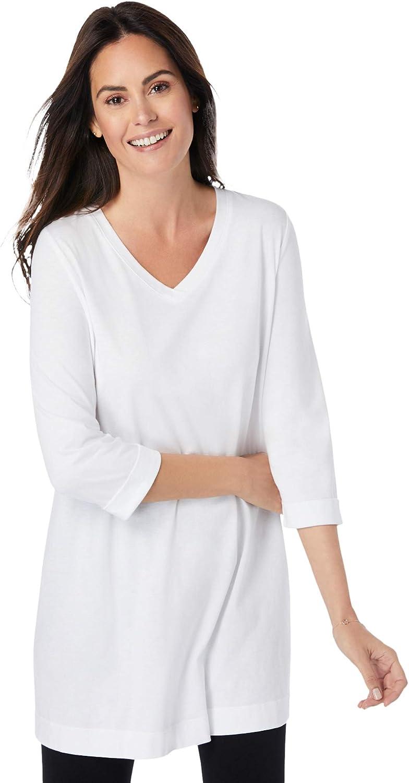 Woman Within Women's Plus Size Longer Length Three-Quarter Sleeve V-Neck Tunic