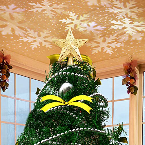 JISUSU Christmas Tree Toppers,Christmas Tree Star Topper Lighted with LED Rotating White Snowflake Projector, 3D Hollow Glitter Lighted Golden Star Tree Topper for Christmas Tree Decorations (Golden)