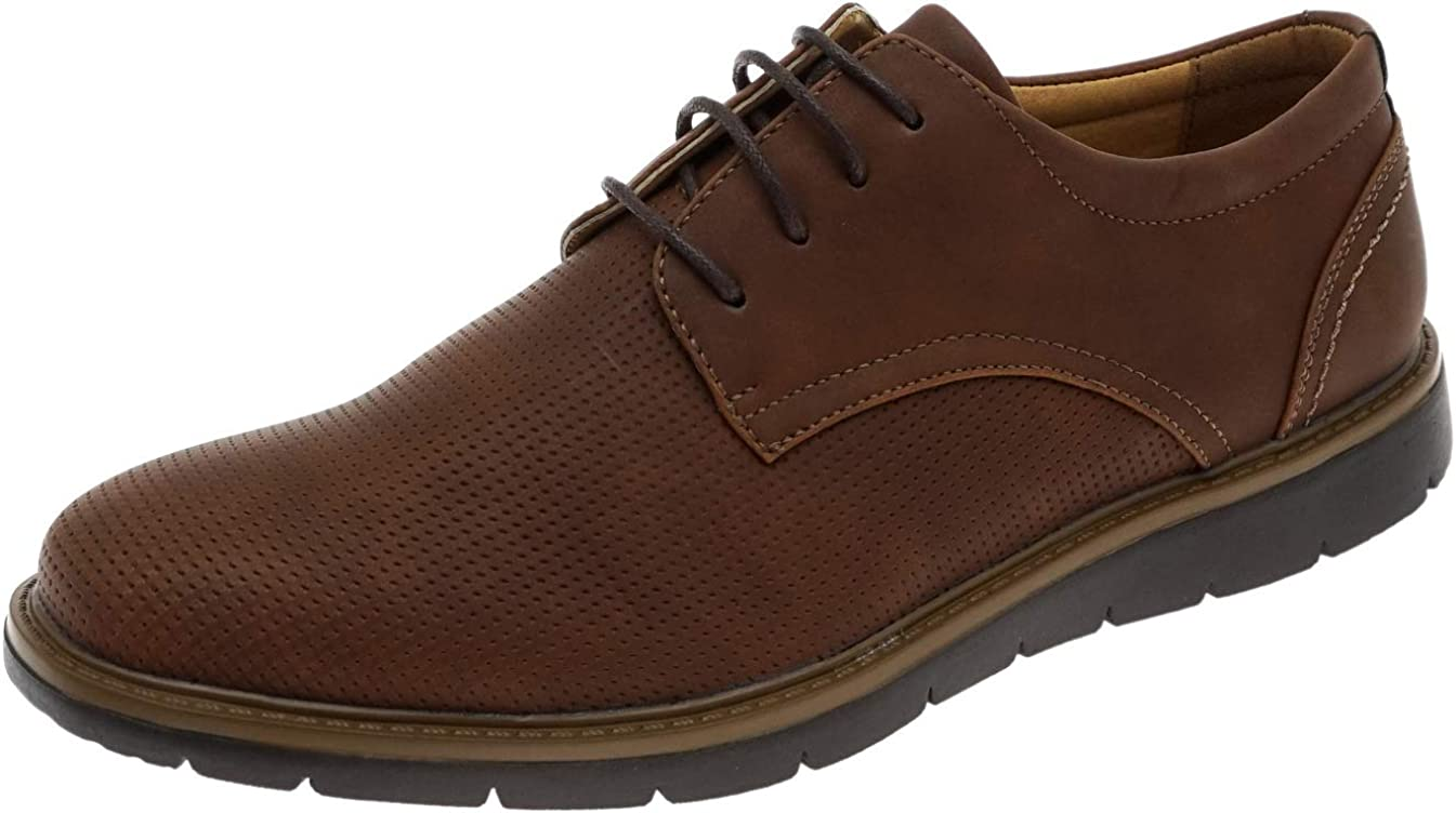 Cambridge Select Men's Lace-Up Round Toe Perforated Oxford