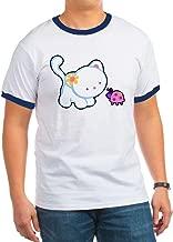 Royal Lion Ringer T-Shirt Kitty Saying Hello to Ladybug - Navy/White, 2X