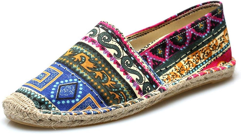 ZHRUI Mens Espadrilles Canvas Slip on shoes Men Breathable Moccasins (color   bluee, Size   9=43 EU)