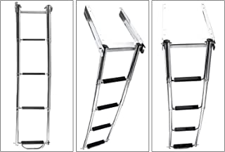 YaeMarine 4 Step Boat Ladder Telescoping Under Platform Sliding Ladder with Spring Loaded Latch & a Carry Handle & Mounting Screws Stainless Steel(8345SAR3)
