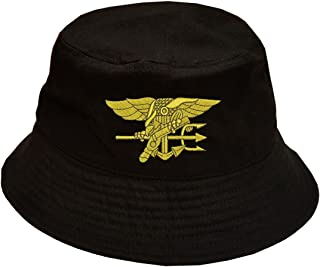 Navy Seal Logo 100% Cotton Black Bucket Cap Hat