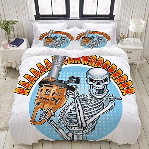 Funda nórdica, Sonriente Esqueleto Humano con Motosierra, Juego de Cama Juego de sábanas de colchón de poliéster de Lujo Ultra cómodo y Ligero