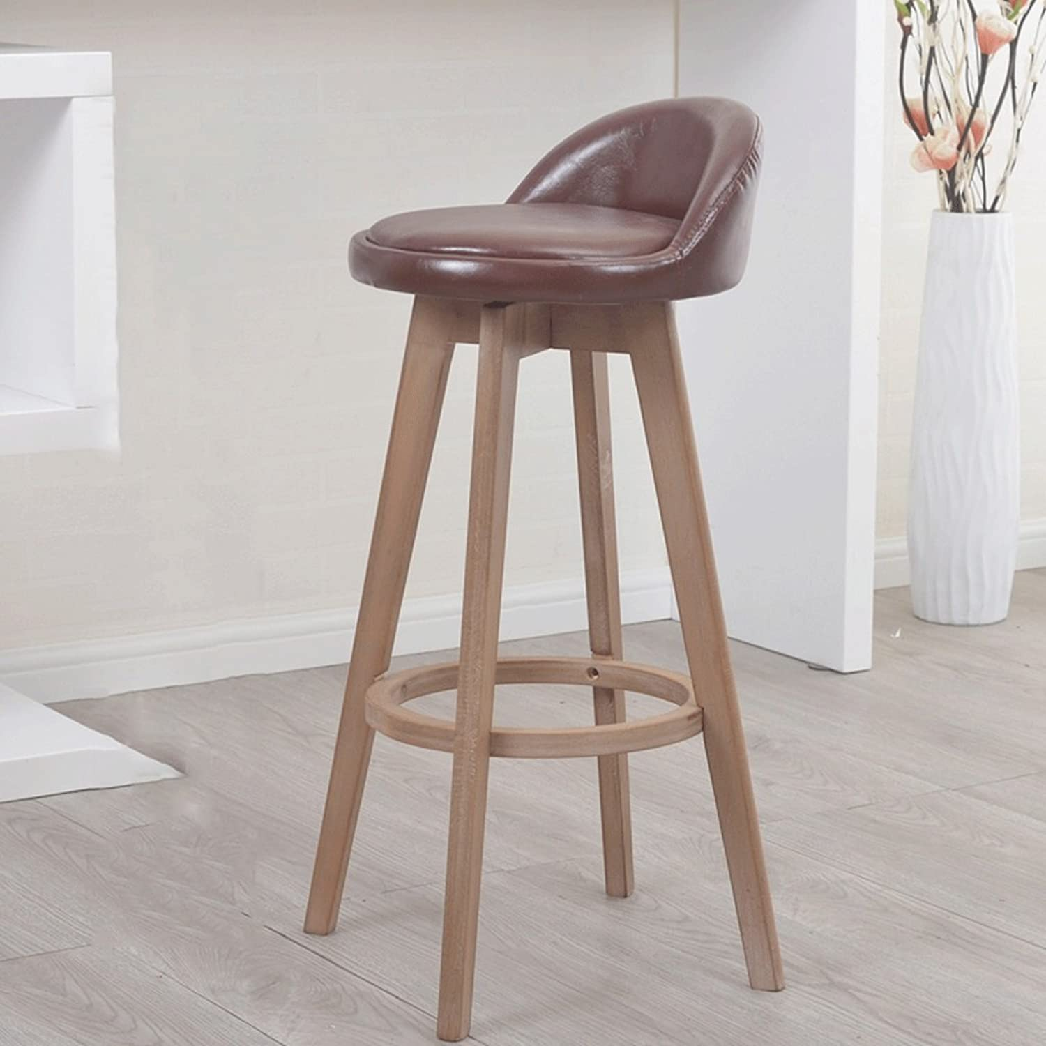 Barstool Solid Wood Bar Chair Brown Soft Leather Can redate The Stool Bar Chair Bar Chair High Chair (Size   63cm)