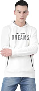 Monte Carlo White Printed Cotton Blend Hood Sweatshirt