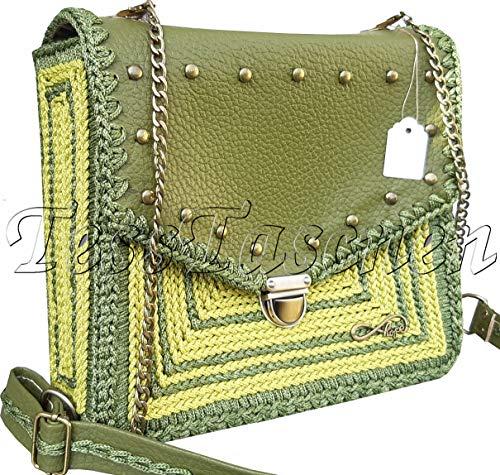Olivgrüne Umhängetasche.Schultertasche in der Khakifarbe.Leder Handtasche.Grüne Hobo Tasche mit Metall-Nieten.Medium Cross-body Bag .Gechäkkelte Satchel.Tasche mit gesticktem ornament