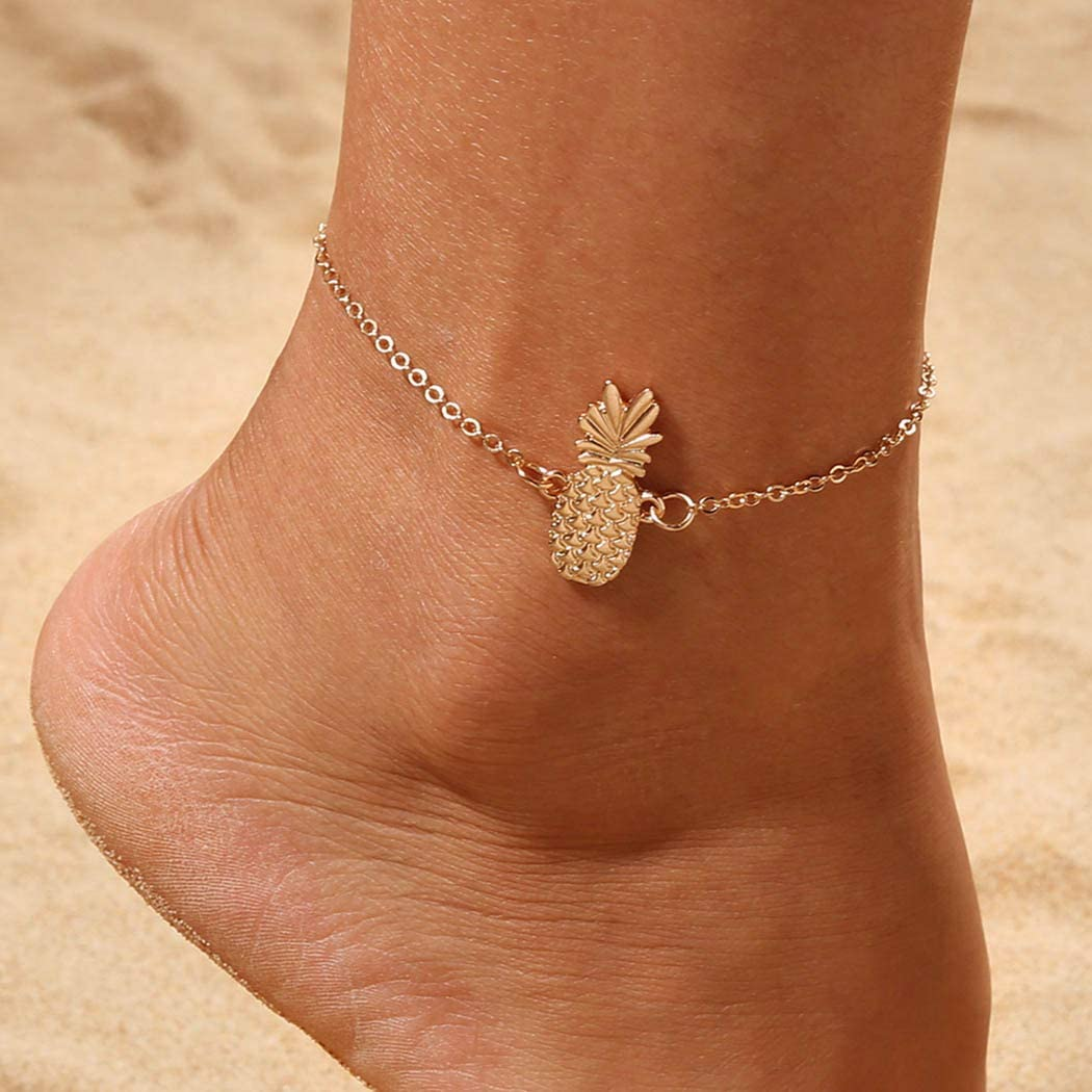 Reetan Boho Beach Anklets Gold Pineapple Fashion Ankle Bracelet Adjustable Foot Jewelry for Women and Girls