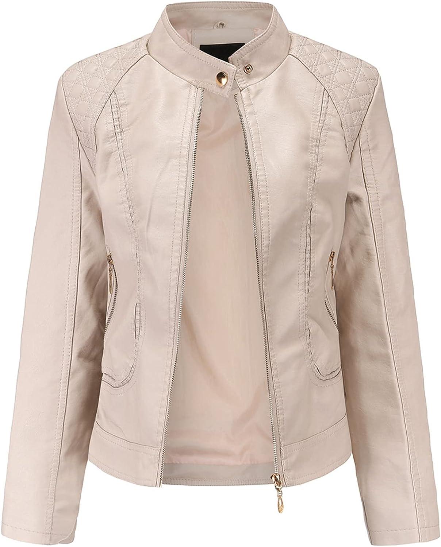 ZeniRuec Women Fashion Jackets PU Leather Long Sleeve Spring Autumn Tops Zipper Pockets Biker Coat Slim fit 5 Colors Khaki-M