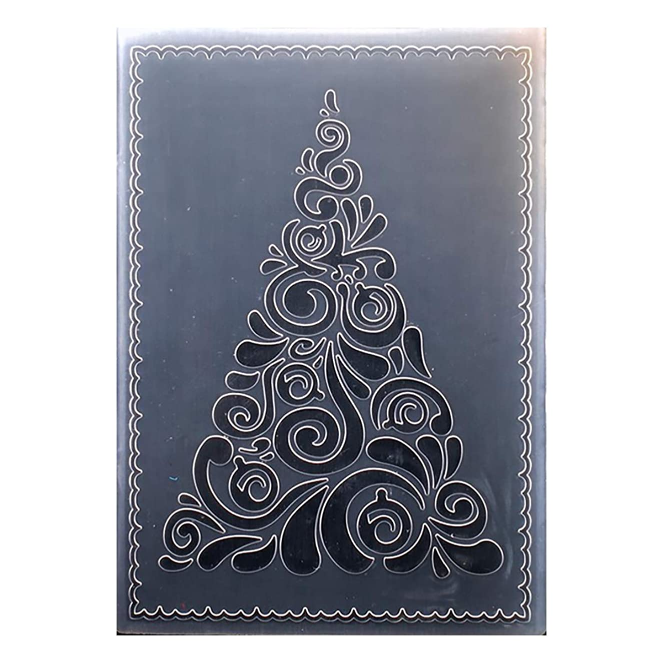 Kwan Crafts Merry Christmas Tree Plastic Embossing Folders for Card Making Scrapbooking and Other Paper Crafts, 12.5x17.7cm