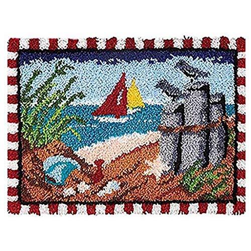 Kit de alfombra de felpa, kit de bordado de felpa, hecho a mano, para niños/adultos con patrón preimpreso, 52 x 38 cm