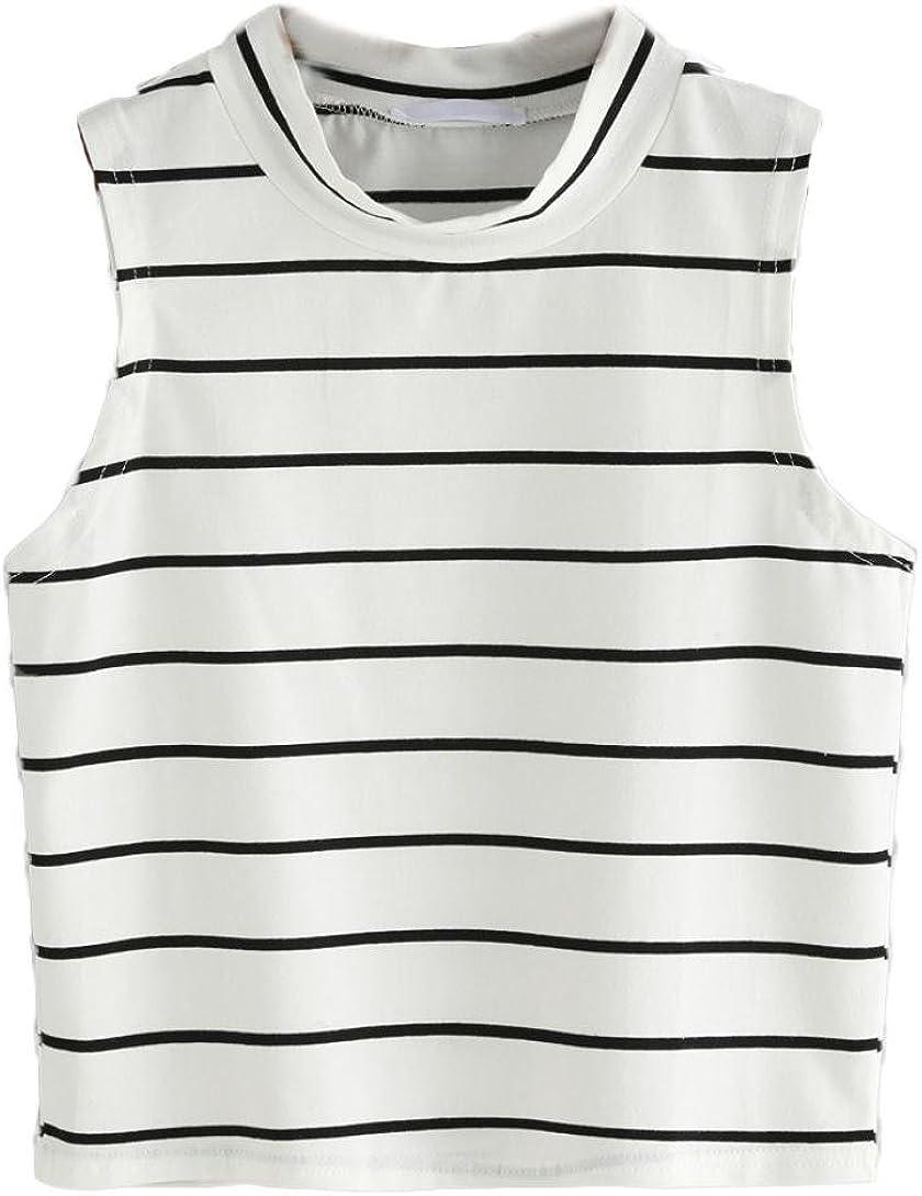 TOPUNDER Clearance Women Fashion Sexy T-Shirt Striped Tank Sleeveless Tops