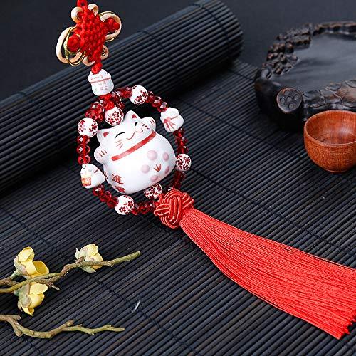 Maneki Neko Feng Shui Colgante con gato Japonés Porcelana tradicional