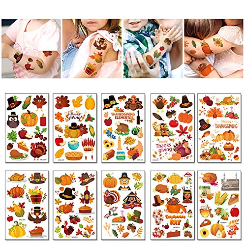 Autumn Temporary Tattoos Stickers for Kids Pumpkin Turkey Tattoos for Children Thanksgiving Day Party Favors Supplies Great Party Accessories Goodie Bag Stuffers Party Fillers Halloween Costume