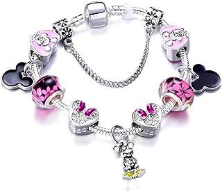 سوار ميكي ميني ماوس الساحر من شركة ميديل، وردي، مجوهرات للفتيات والسيدات والأطفال