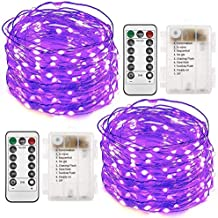Twinkle Star 2 Set Halloween Fairy Lights Battery Operated, 33ft 100 Led String Lights Remote Control Timer Twinkle String Lights 8 Modes Firefly Lights for Garden Party Indoor Decor, Purple