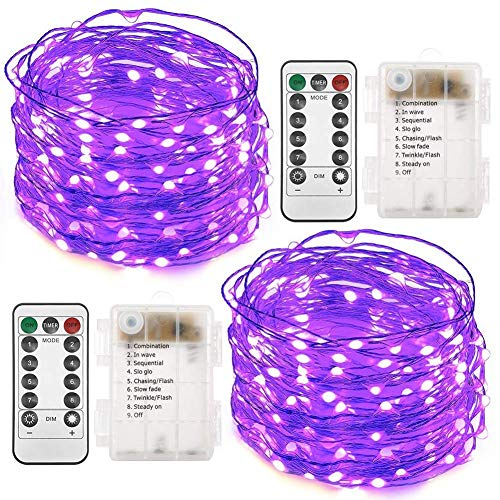 Twinkle Star 2 Set Christmas Fairy Lights Battery Operated, 33ft 100 Led String Lights Remote Control Timer Twinkle String Lights 8 Modes Firefly Lights for Garden Party Indoor Decor, Purple