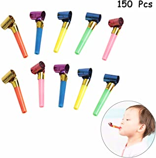 SBYURE 150 Pcs Musical Blow Outs, Party Horns Noisemakers Blowouts Whistles for Birthday Party Favors, New Years Party Noisemakers,Party Blowouts Whistles,Fun Party Favors, Assorted Colors