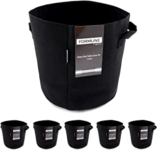 Formline Supply Premium 3 Gallon Grow Bags [Pack of 5]. Fabric Flower Pots are The Smart Way to Garden. Add These Heavy Duty Planters to Your Grow Tent Kit or Hydroponic System to Increase Yields.