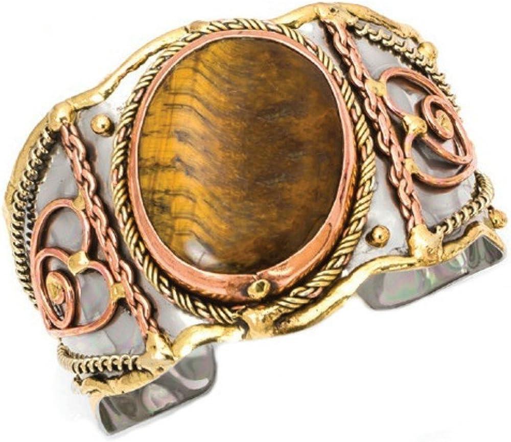 Tiger Eye Mixed Metal Cuff Bracelet