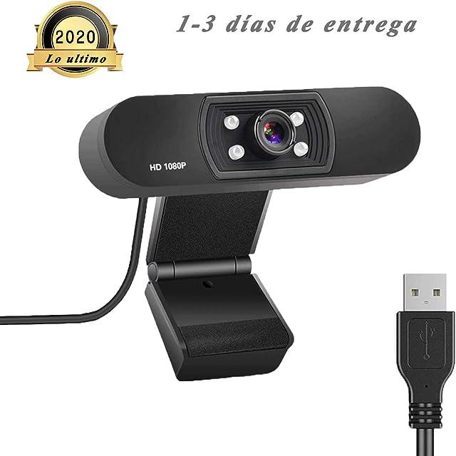 ZXSL Cámara Web de 1080p con micrófono para transmisión de videoconferencia de Conferencia,Cámara de Video portátil Adecuada para PC computadora portátil computadora de Escritorio