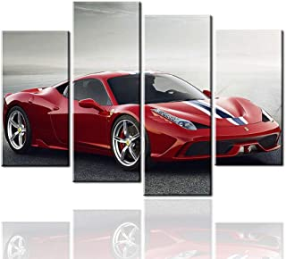 Meigan Art-4 Pieces Red Sports Car Wall Art Picture Home Decoration Living Room Canvas Print Painting Wall picture