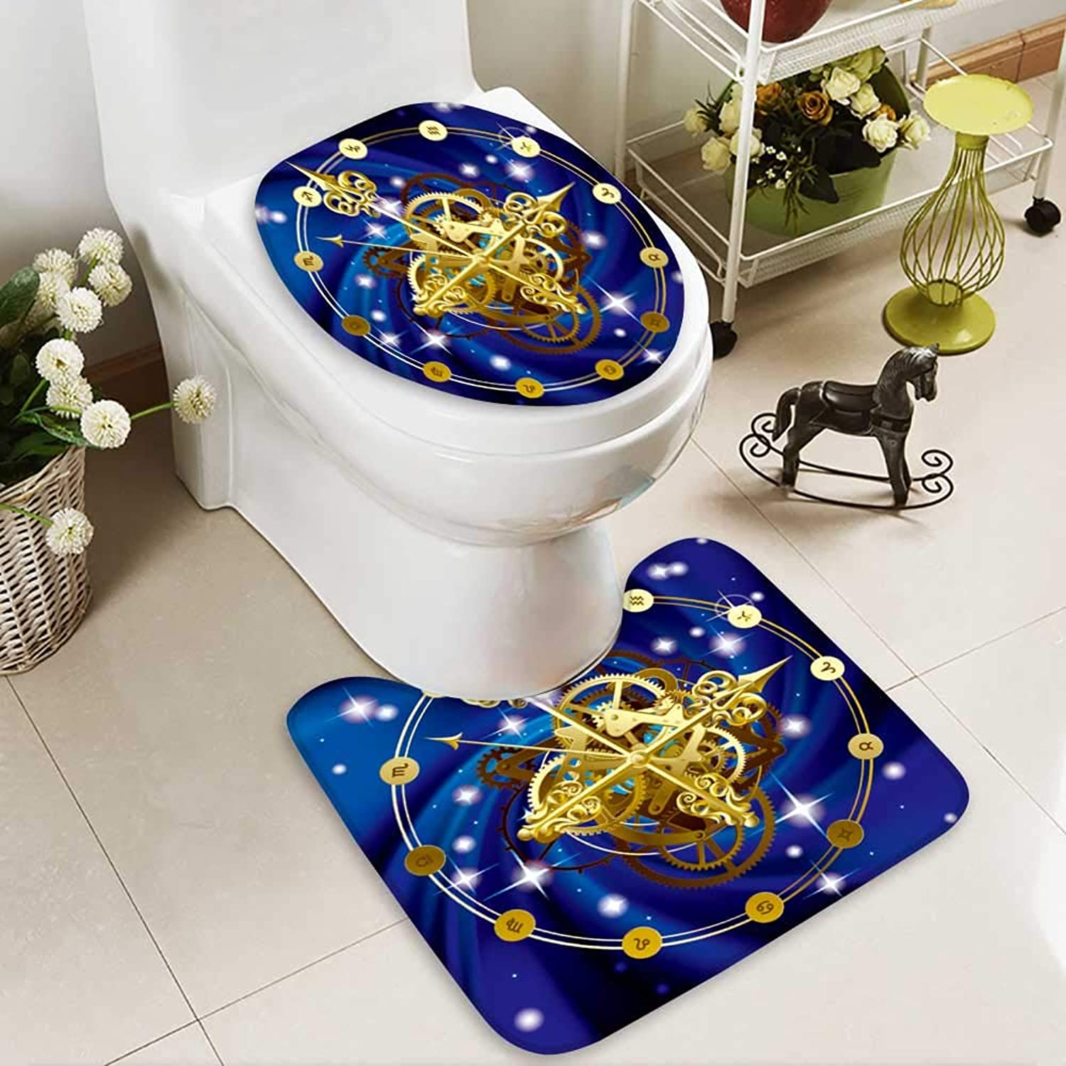 Analisahome 2 Piece Toilet lid Cover mat Set Vector Image of gold Round Clock with Decorative Hour Hands cogwheels Washable Non-Slip