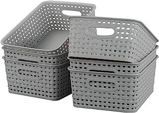 Kiddream 6-pack Plastic Woven Basket Storage Bin For Organization, Grey