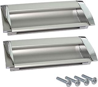AERZETIX: 2x Tirador para cajón alacena puerta mueble armario para empotrar Chelif cromo/plata mate 96mm C41480