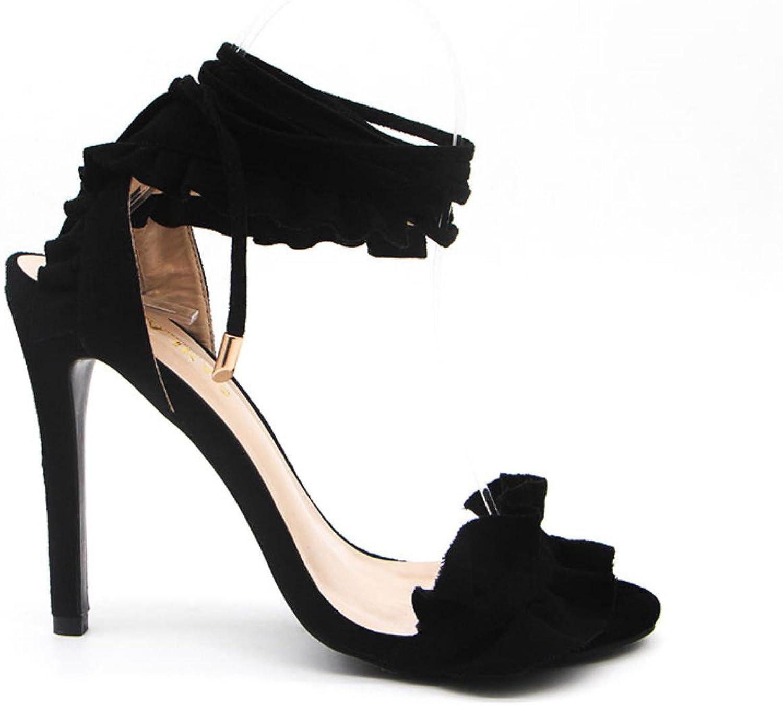 High Heels Sandals Women Pumps Thin Heel Ruffle Lace-Up Summer shoes Fashion pompes de femme
