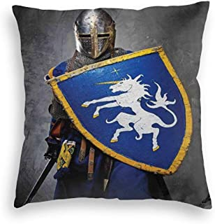 Unniazg Velvet Soft Decorative Square Accent Throw Pillow Covers Cushion Case,Medieval Knight Holding Shield and Sword Aged History Rusty Design Artwork,for Sofa Bedroom Car, 18 x 18 inches