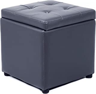 SEATZONE Folding Storage Ottoman Toy Chest Cube Footrest Coffee Table Faux Leather Footstool