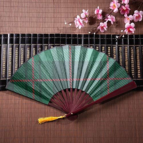 WYYWCY Handluftventilator Süße grüne Gitter mit Bambusrahmen Quaste Anhänger und Stofftasche Handventilator Süße japanische Faltfächer Große japanische Wandventilator