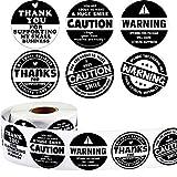 600 Autocollants de Remerciement par Rouleau Étiquettes de Bonheur Noires et Blanches Autocollants de Scellage Thank You for Supporting My Business pour Fournitures d'Emballage 1,5 Pouces